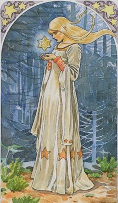 The Star - Sorcerers Tarot. In a reading, the traditional tarot card The Star means that with gentle love and nurturing your wish will come true in time. Fantasy Kunst, Fantasy Art, Desenhos Tim Burton, Traditional Tarot Cards, Alfons Mucha, Star Tarot, Images Esthétiques, Fairytale Art, Oracle Cards