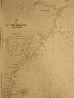 Original British Admiralty Sea Chart - South Atlantic Ocean South America Inc Falklands To South Africa Cape Colonies (Originally Published at the Admiralty 8th August 1883) Corrections to 1947 Circa 1949  A highly prized and collectable superb Gift for a Yachtsman  A fantastic totally original sea chart (not modern reprint) that would look superb, framed and hung in a contemporary apartment, house in any classical study. This chart was acquired from an antique sale in western England with…