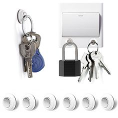 Tescat 6 Pcs Magnetic Key Holder Key Chain - Without Drilling - Easily Installed By Applying Adhesive: Amazon.co.uk: Kitchen & Home