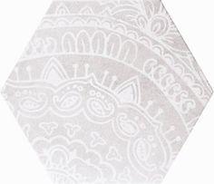 Decorative geometric porcelain wall and floor tiles in the Alchimia Esagono Bianco & Grigio range.  #geometric #porcelain #tiles