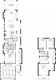 New House Plans Two Story Open Floor Modern Ideas Two Storey House Plans, Narrow House Plans, Small Floor Plans, House Plans One Story, Best House Plans, The Plan, How To Plan, Narrow House Designs, Storey Homes