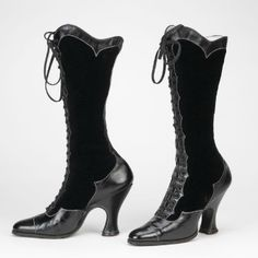 ~Black patent leather and velvet boots Swedish, 1890-1920~