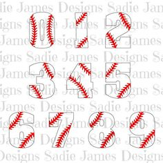 Baseball laces numbers SVG and Silhouette by SadieJamesDesigns