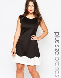 Image 1 of AX Paris Plus Fitted Skater Dress With Contrast Hem