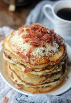 Savory Bacon Cheddar Pancakes | Baker Bettie