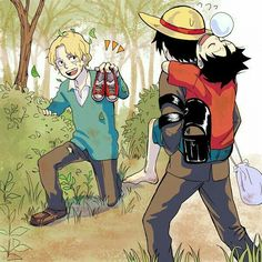 Ace, Sabo, Luffy, sleeping, piggyback, funny, cute, shoes, brothers; One Piece
