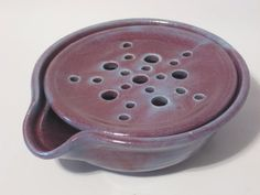 One Soap Dish with Drain Tray - One Piece Soap Saver for Kitchen or Bath - Handmade Pottery Glazed Purple & Sky Blue