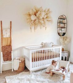 Project Nursery on OK, how gorgeous is this pampas wall hanging for this precious neutral nursery. TAP image to shop this crib, baby rocker and more -- Baby Nursery Decor, Project Nursery, Baby Bedroom, Girl Nursery, Girl Room, Boho Nursery, Nursery Themes, Unisex Nursery Ideas, Nursery Ideas Neutral