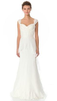 Alberta Ferretti Collection Cap Sleeve Gown <3 ahhh love in a billion stitches