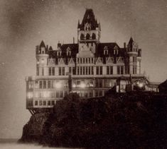 The Cliff House, San Francisco, California; One of my favorite places to dine. Old Buildings, Abandoned Buildings, Abandoned Places, Art Nouveau, Gothic, Haunted Places, Spooky Places, Old Houses, Haunted Houses