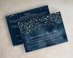 Wedding invitations, navy blue watercolor, silver glitter, gold glitter, starry night, twinkling stars, glitter wedding invitation, Stars by www.appleberryink.com