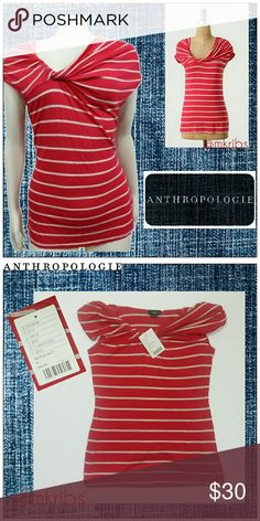 ❗NWT Anthropologie Deletta striped top shirt NEW WITH TAGS ATTACHED, Deletta 'A Bit Unruly' knotted neckline, striped shirt. NO TRADES PLEASE! OFFERS WELCOME THROUGH OFFER FEATURE ONLY PLEASE! Anthropologie Tops