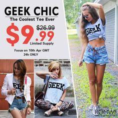 "Shop ""Geek"" Print Grey T-shirt at ROMWE, discover more fashion styles online. Shop Geek, Twiggy, Geek Chic, Cool Tees, Romwe, Trendy Outfits, April 10th, Geek Stuff, T Shirt"