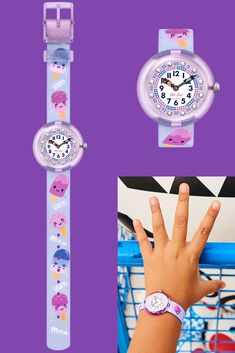 A delightful watch for kids in pink and violet, YUM (ZFBNP155) has a delicious design to help kids to tell the time - especially when it's time for ice cream! It's a lovely gift for children's birthdays, with Swarovski® crystals on the dial and a sturdy Swiss build that is both shock and water resistant. Help Kids, Telling Time, Gifts For Kids, Purple, Pink, Swatch, Swarovski Crystals, Bracelet Watch, Birthdays