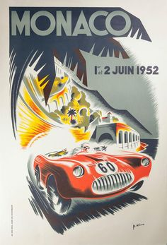 december 2016 4 affiche prints vintage 1952 monaco grand prix motor racing poster print re print reproduction print card Vintage Racing, Vintage Ads, Unique Vintage, Vintage Style, Monte Carlo, Jeep Carros, Monaco Grand Prix, Car Posters, Vintage Travel Posters