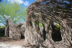 The Children's Discovery Garden at Wegerzyn Gardens, in Dayton, Ohio.  (Willow Sculpture by Patrick Dougherty)