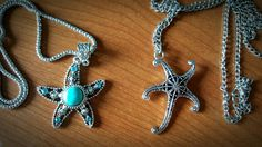 Silver starfish Bohemian Turquoise Starfish Necklace Beach Jewelry Boho Jewellery Marine Boho Vintage Mother's Day Gift Bead Necklace (15.00 CAD) by UniqueLook4U