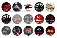 Fifty Shades of Grey Inspired Bottle Cap Images