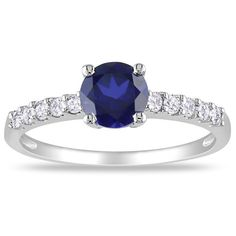 Miadora 10k Gold Created Sapphire and 1/4ct TDW Diamond Ring (G-H, I2) - Overstock Shopping - Top Rated Miadora Gemstone Rings