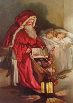 """""""Now wake little people dressed in white, Old Father Christmas came last night; He crammed your stocking – and, children, look! He brought you a coloured picture book."""" From 'Old Father Christmas' by Lizzie Mack and Robert Ellice Mack (classmark 1889.9.72)"""