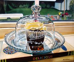 "Black Forest Cupcake - an homage to Wayne Thiebaud by Alvin Richard, Moncton NewBrunswick artist. This is a painting of a cupcake from the local cupcake shop ""TheCakeBox""."