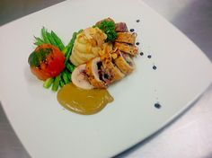 Pan Fried Chicken Roll with Foie Gras Sauce