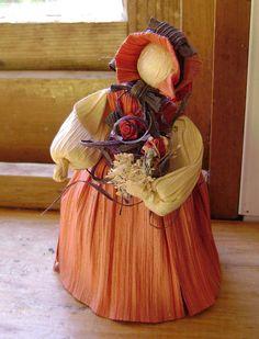 Corn Husk doll Autumn Fall by softearthart on Etsy