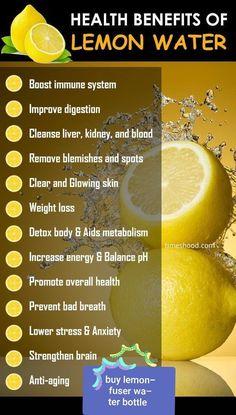 Health Benefits of Drinking lemon Water. When to drink lemon water for weight loss. Drinking lemon water in the morning. Weight loss detox d Lemon Water Benefits, Lemon Health Benefits, Health And Nutrition, Health Tips, Health And Wellness, Nutrition Jobs, Weight Loss Detox, Weight Loss Drinks, Lose Weight