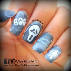 Ghost Halloween Nails- Matte Nails