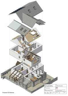 Exploded Isometric of Farmhouse Extension