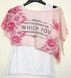 T-shirt + canotta bambina bimba estate stampa fiori taglie 4/14 anni