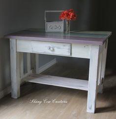 Solid wood heavy handmade rustic table/desk by skiingcowcreations