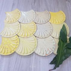Zellige Yellow Fishscale Flower x Handmade. Comes in 6 unique shades! Yellow Fish, Lemon Yellow, Beach Hut Decor, Fish Scale Tile, Mermaid Shell, Fish Scales, Shades, Bathroom, Flowers