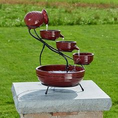 Outdoor Fountains 20507: Smart Solar Red Lava Solar Ceramic Cascade Outdoor Fountain -> BUY IT NOW ONLY: $90.89 on eBay!