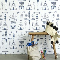 Buy online Hibou Home Teepee Wallpaper. Teepees, arrows, tribal motifs and feathers adorn our native inspired wallpaper. Perfect for your mini adventurer! Star Wallpaper, Nursery Wallpaper, White Wallpaper, Wallpaper Online, Kids Wallpaper, Perfect Wallpaper, Wallpaper Direct, Wallpaper Decor, Wallpaper Ideas