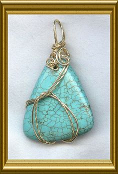 Turquoise Gold Wire Wrapped Pendant