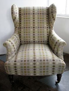 1891 wing-back armchair reupholstered in Melin Tregwynt Mondo Sage doublecloth