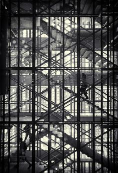 The effect of the facade of the Institut du Monde Arabe; photo by Simon Gardiner