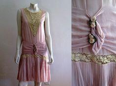 1920s Dress / Lilac Silk & Venice Lace / 1920s by AntiqueGraces