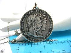Antique Sterling Silver Necklace 1879 Austria Franz Josep Elsabeth Coin Pendant #Austria #SilverCoin #ElizabethofAustria #Lariat