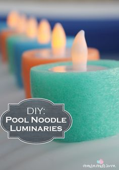Who knew!? Learn how to make these DIY Luminaries out of your old pool noodles from the summer!
