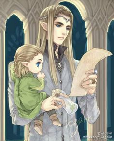 Baby Legolas and Thranduil