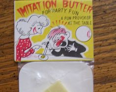 Vintage Trick Gag Novelty Toy Fake Butter Pat 1960's Dime Store  Japan NOS