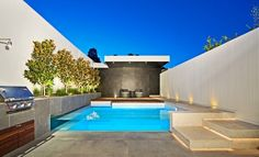 glass swimming pool in house