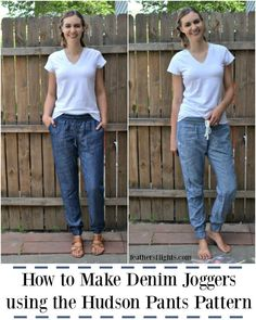I love denim joggers so much, but I didn't want to buy an extra sewing pattern. Instead I turned the Hudson Pants pattern into woven joggers and you can read how I did it! How to Make Denim Joggers Using the Hudson Pants Pattern Sewing Blogs, Easy Sewing Projects, Sewing Projects For Beginners, Sewing Tutorials, Sewing Tips, Blog Couture, Diy Couture, Creation Couture, Sewing Pants
