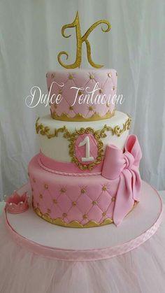 19th Birthday Cakes, Creative Birthday Cakes, Sweet 16 Birthday Cake, Pink And Gold Birthday Party, 1st Birthday Party For Girls, Beautiful Birthday Cakes, Princess Birthday, Birthday Party Decorations, Birthday Parties