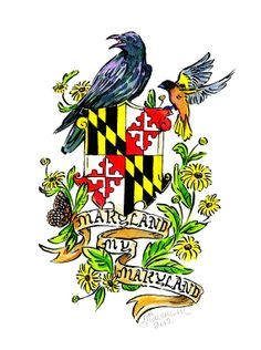 Maryland My Maryland with flag, raven and oriole, Maryland tattoo series, Large