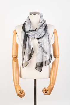 Fashion Infinity Scarf, Gray Silk Lightweight Chiffon Scarf, Silk Scarves Romantopia. Gift for her. Made to order. by LEOKOXX on Etsy
