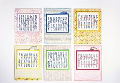 Birthday Card Set 4 Colorful Stitched Word by MichelleYDesign