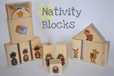 Nativity blocks - great idea for my  nephews for Christmas!  Unfortunately, these stickers are no longer available, but I'm sure there are others out there that will work just as well...so cute in a little tin :)